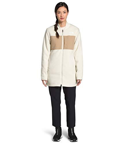 The North Face Chaqueta de forro polar largo reversible TNF para mujer, color blanco vintage/caqui Hawthorne, M