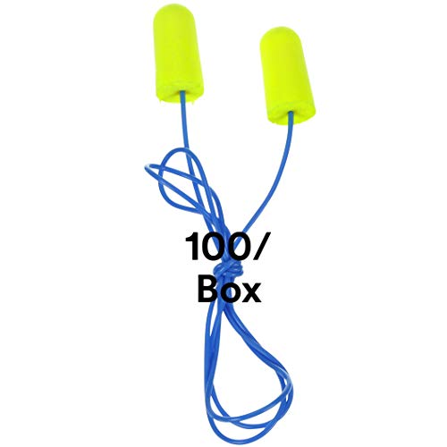 3M Ear Plugs, 100/Box, E-A-Rsoft Yellow Neons 311-1256, Corded, Disposable, Foam, NRR 33, Drilling, Grinding, Machining, Sawing, Sanding, Welding, 1/Poly Bag