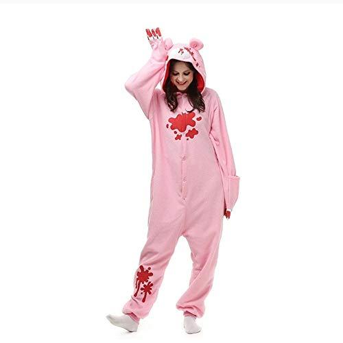 FZH Pijama Kigurumi de Manga Larga con Capucha Pink Panther Onesie de Franela Kigurumi para Adultos Pijamas de Animales de una Pieza Entera-Oso Rosa_L