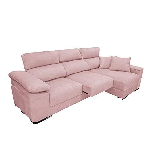 Shiito - Sofá de 3 plazas con chaiselongue a Derecha y arcón. Cuenta con Asientos deslizantes. Tapizado en Rosa. Modelo Maria.