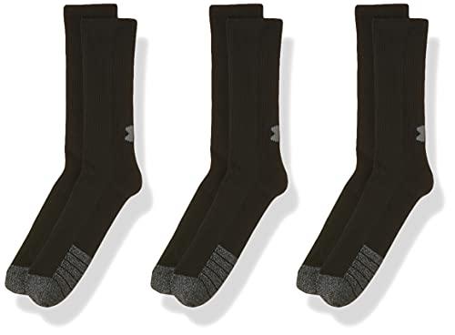 Under Armour UA Heatgear Crew, Long Sports Socks, Compression Socks Unisex, Black (Black/Black/Steel (001)), L