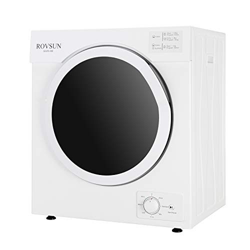ROVSUN 13LBS Electric Compact Clothes Dryer, 1500W Portable Tumble Laundry Dryer with Stainless Steel Tub, Easy Control Knob, 7 Drying Modes, White