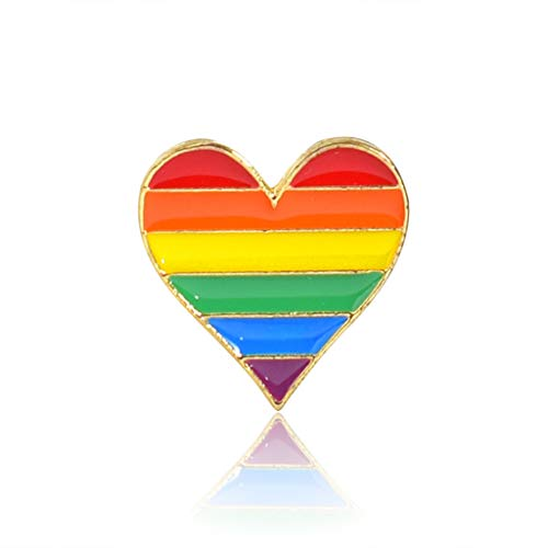 Broche Pin con forma de corazón con diseño de arco iris, para ropa, decoración de moda, ramillete creativo, único, para mujer, vestido, abrigo, bufanda, alfileres de colores