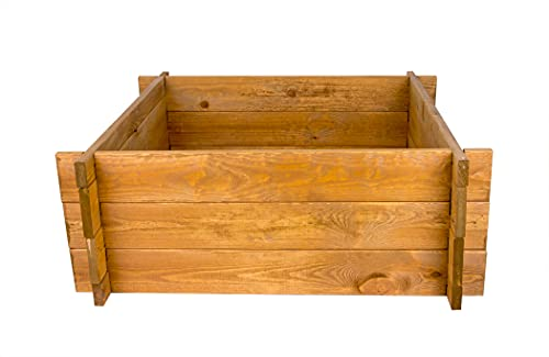 BigDean Hochbeet - 119x119x29,5 cm - Braun - Einfache Montage ohne Werkzeug - Bio Kräuterbeet Made in Europe - 100{4c0897a24b4e99fab1e28e4643805920c5a669fc154e2abb71f2acb3a11bcaac} PEFC zertifiziertes Holz