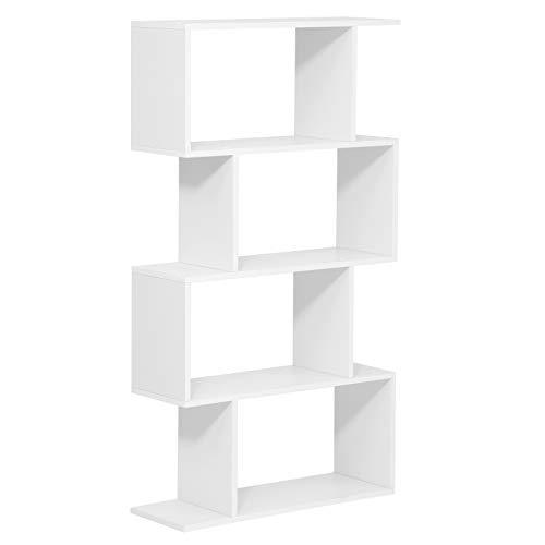 VASAGLE Bücherregal, Standregal, Würfelregal, freistehendes Regal, Raumteiler, 4 Fächer, für Büro, Wohnzimmer, Schlafzimmer, dekorativ, weiß LBC41WT