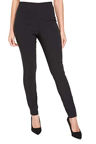 Roman Originals Women Stretchy Trousers - Ladies Bengaline Pull On Leggings Smart Treggings Fitted Tailored Tapered Elasticated Waist Work Office Thick Pants - Black - Size 10