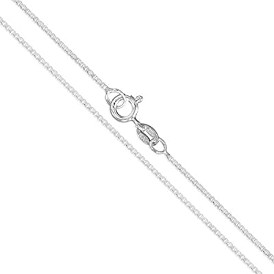 """Sterling Silver Box Chain 1mm Genuine Solid 925 Italy Classic New Necklace 15"""""""