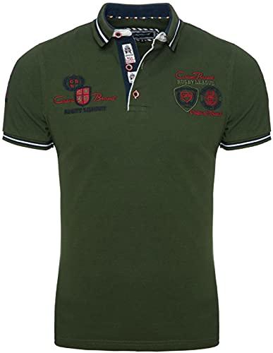 CARISMA Kurzarm Poloshirt für Herren XL, Khaki 100% Baumwolle • Herren Polo Shirt mit Stickerei • Regular Fit Shirt mit angenehmen