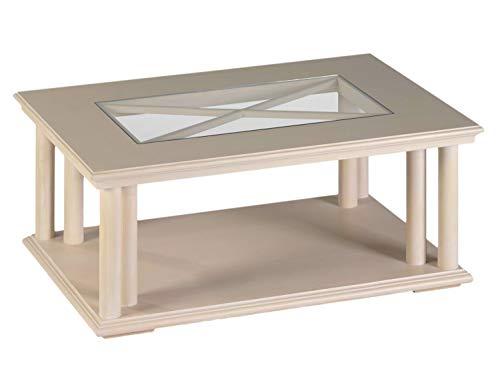 casamia Couchtisch Wohnzimmertisch Beistelltisch 110 x 75 cm mit Glasplatte u. Ablage Allegro Pinie massiv
