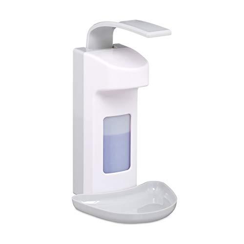 Relaxdays Desinfektionsspender, mit Tropfschale, Hygiene Wandspender Händedesinfektion, Armhebelspender für 500 ml, weiß, 1 Stück