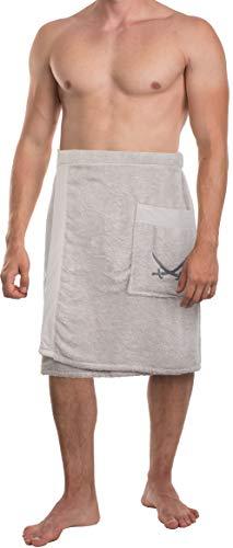 Sansibar Toalla de sauna para hombre S-XXL con cierre de velcro, goma elástica y bolsillo con logotipo bordado, 100% algodón, color plateado y gris claro