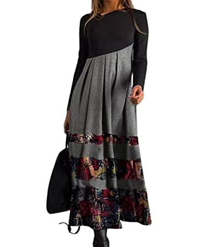Vestido de Mujer Floral Suelto Otoño/Invierno Vestido Largo Manga Larga Vestido con Cuello en V S - 3XL