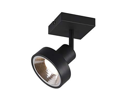 TRIO Beleuchtung Lámpara LED de pared y techo retro, 1 foco, color negro mate con pantalla redonda