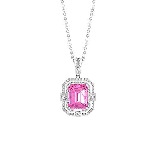 Colgante de esmeralda con forma de octágono de 2,31 ct, 0,55 ct, certificado SGL, diamante de corte princesa HI-SI con claridad de color, colgante de aniversario de boda,10K Oro blanco Sin cadena
