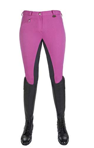 HKM Vollbesatz Reithose Wülfer X mit elastischen Beinabschluss für Kinder, pink mit grauen Besatz, Größe: 122