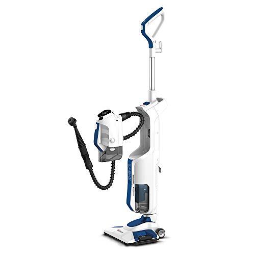 Polti Vaporetto 3 Clean_Blue - Aspirador de Suelos con Limpiador a Vapor portátil, 3 Productos en 1, 14 Accesorios, 3 ajustes a Vapor, aspiración ciclónica sin Bolsa, Blanco/Azul