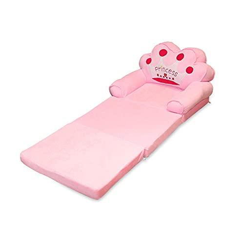 Plush Foldable Kids Sofa Backrest Cartoon 3 Fold Flip Open Sofa Bed Children Sofa Armchair For Living Room Bedroom (pink Crown)