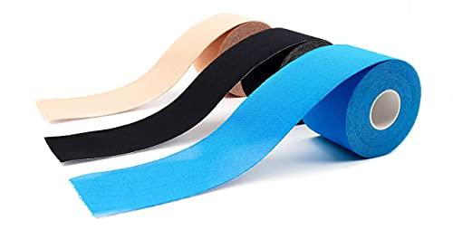 axion Kinesiologie 3er Set - Wasserfeste Tapes in blau, Hautfarben, Schwarz - Optimal für Sport