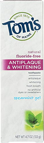 Tom's of Maine (NOT A CASE) Fluoride-Free Antiplaque & Whitening Toothpaste Spearmint Gel