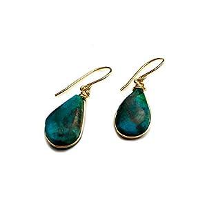Chrysocolla Earrings Premium 14K Gold Fill Wire Dangle Teardrop Earrings
