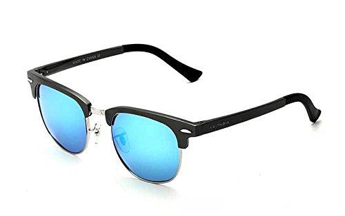PPuujia Gafas de sol retro unisex de aluminio de magnesio para hombre polarizadas vintage gafas de sol accesorios gafas de sol para hombres y mujeres (color: azul)
