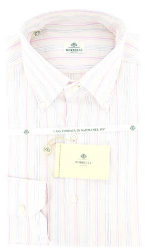 Luigi Borrelli Pink Stripes Button-Down Collar Cotton Slim Fit Dress Shirt, Size Medium 16