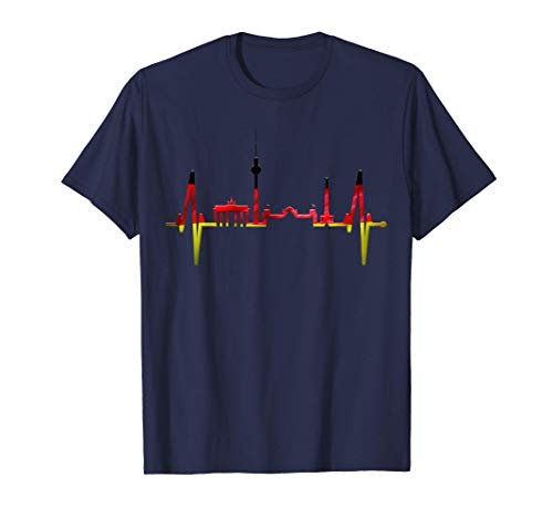 Berlin Skyline Herzschlag Deutschland Flagge Fahne Berlin T-Shirt