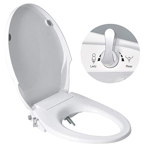 Uni-Green Manual Bidet Toilet Seat, White with Quiet-Close Lid&Seat, Non-Electronic,Dual Nozzles for Rear&Feminine Spray. (Elongated)