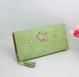 Scrub Cartoon Puppy Long Wallet Women's Cartoon Money Clip Student Cartoon Mobile Phone Bag Green