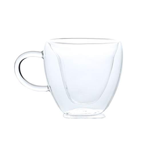 MagiDeal Taza de café de té de vidrio transparente de doble pared taza de bebida de Chocolate caliente con asa - 240ml