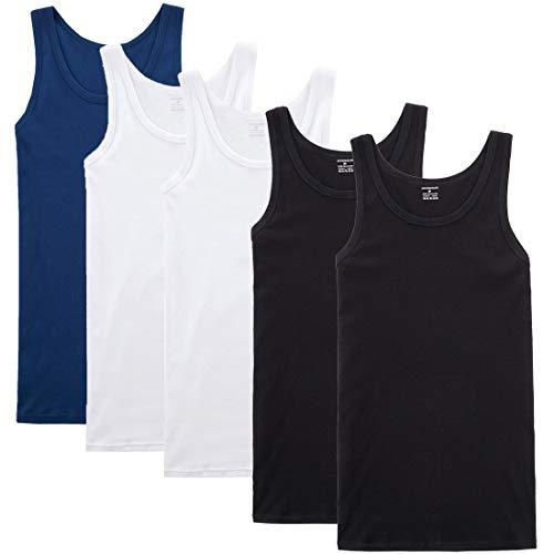YOUCHAN Camiseta de Tirantes para Hombre Pack de 5 de Algodón 100% más Colores-Negro Blanco Azul Marino-L
