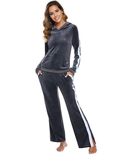 Aibrou Damen Trainingsanzug Samt Zweiteiler Hausanzug Velours Jogginganzug Sportbekleidung Freizeitanzug Jogging-Anzug Bekleidungsset Sportanzug