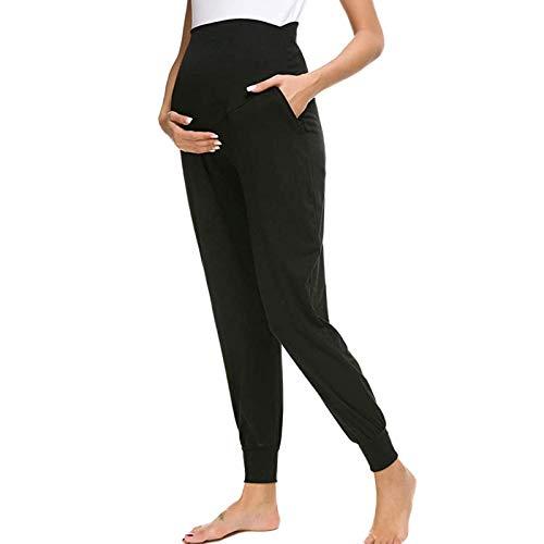 HINK Pantaloni Premaman da Donna in Tinta Unita,Tinta Unita da Donna con Tasche Comodi Pantaloni Premaman da