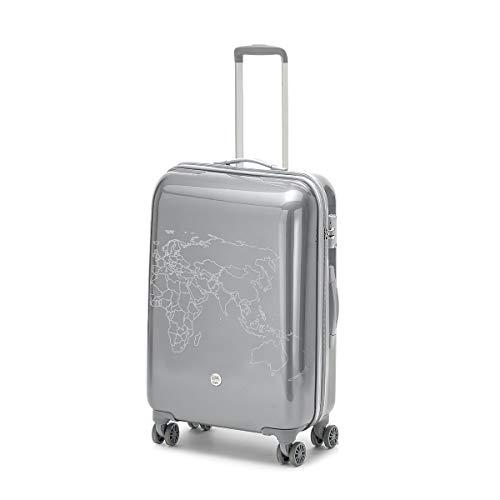 Ciak Roncato Trolley Rigido Grande, Valigia da Viaggi Lunghi 53 x 78 x 30 cm, Serie TO DO II con Decorazione a Mappa, Colore Argento
