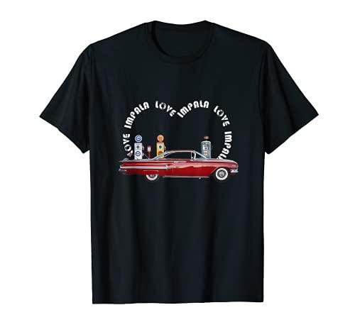 Red Impala Love Heart Oldtimer-Liebhaber T-Shirt