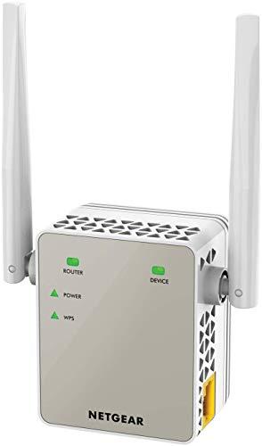 NETGEAR WLAN Repeater EX6120 WLAN Verstärker, AC1200 Dual Band WiFi, Abdeckung 2 bis 3 Räume & 20 Geräte, Geschwindigkeit bis zu 1200 MBit/s, kompaktes Design