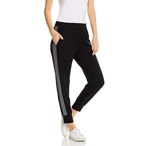 Eileen Fisher Womens Petites Contrast Trim Casual Track Pants Black PP/PTP