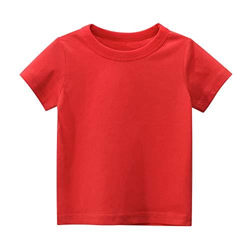 Treer Kinder Jungen Mädchen Einfarbig T-Shirt Baumwolle Rundhals Kurzarm Shirt Sommer Unisex T-Shirt Oberteil 90-140 Größe - Minimalismus Einfacher Stil (Rot,140cm)