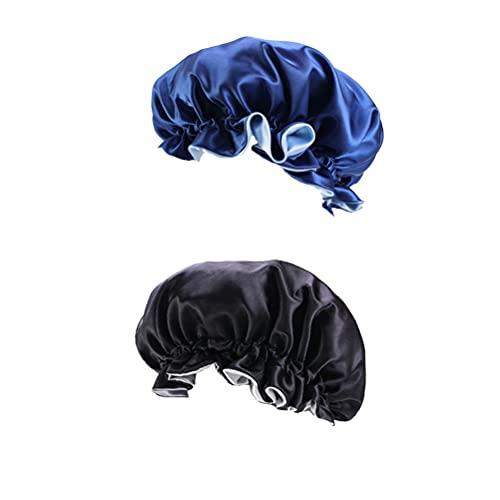 Bonnet Satin Cheveux Nuit, 2 Pcs Bonnet de Sommeil Reglable Couche Double, Bonnet en Soie Bonnet de Nuit en Satin pour Femmes et Filles