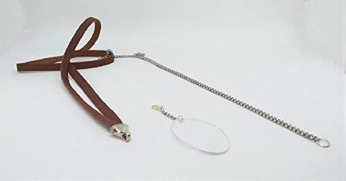 Lesebrille WIKIEYE Kette mit Lupe, Kombination aus 1 Lederkette, 1 Edelstahlkette und 1 Linse. Verfügbar in 5 Glasstärken. Modeaccessoire