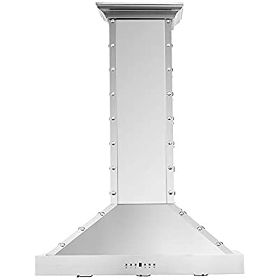 """CAVALIERE Range Hood 36"""" Inch Brushed Stainless Steel Wall Mount - 4 Speed Soft-Touch Electronic Control Panel With LED Lighting, Stainless Steel Baffle Filters, 900 CFM"""
