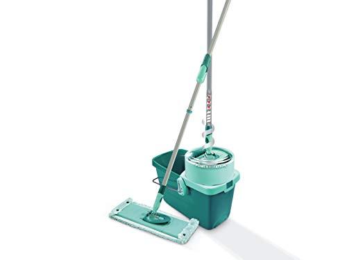 Leifheit Set Clean Twist System XL, lave-sol avec molleton ultra doux, 42 cm, seau essoreur d'une capacité de 20 litres, essorage automatique, kit de lavage pour tous sols lisses, Click-System
