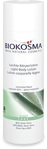 Biokosma Leichte Körperlotion BIO-Aloe Vera / Erfrischende Feuchtigkeitspflege für den Körper / Körperpflege für strahlende Haut / 1x 200ml