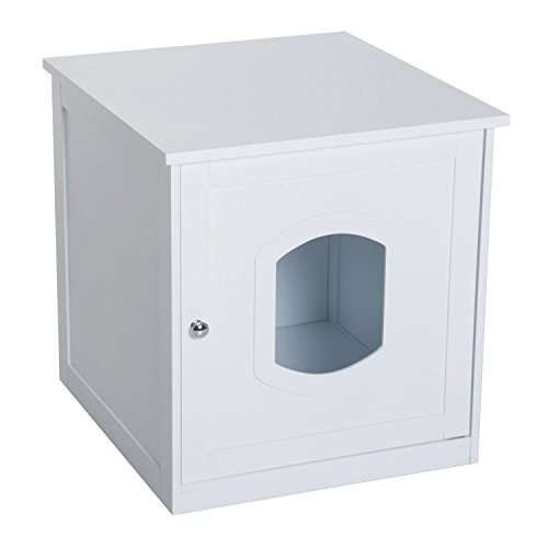 PawHut Decorative Wooden Covered Cat House Side End Table Mess Free Cat Litter Box Hideaway Cabinet Enclosure - White