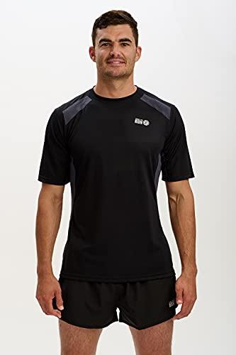 Time To Run Hombres Deportes Tecnica Pace Spirit Corriendo/Ejercicio/Gimnasio Camiseta con Mangas Corto Grande Verde Negro/Carbón