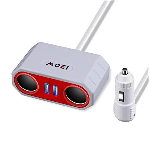 William-Lee auto-achterbank dubbele USB-aansluitingen telefoon autolader sigarettenaansteker splitter-stopcontact voeding smart-IC-opladen met 75 cm netkabel voor smartphones tafels, 80x33x45mm, wit