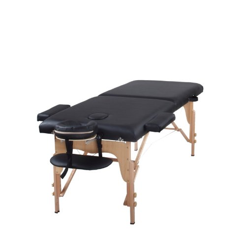 The Best Massage Table Two Fold Black Portable Massage Table - PU Leather