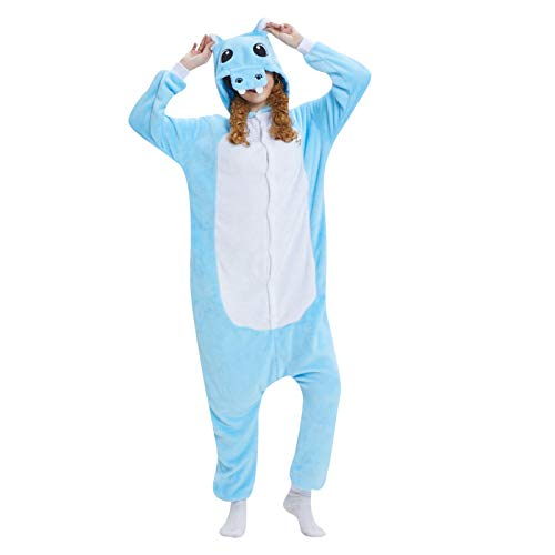 WELCO - Pijama unisex con diseño de animal, con capucha, con bolsillos, manga oversize, encantador sudadera en casa, chándal de noche para padres e hijos, disfraz de cosplay Bleu Ciel14 L