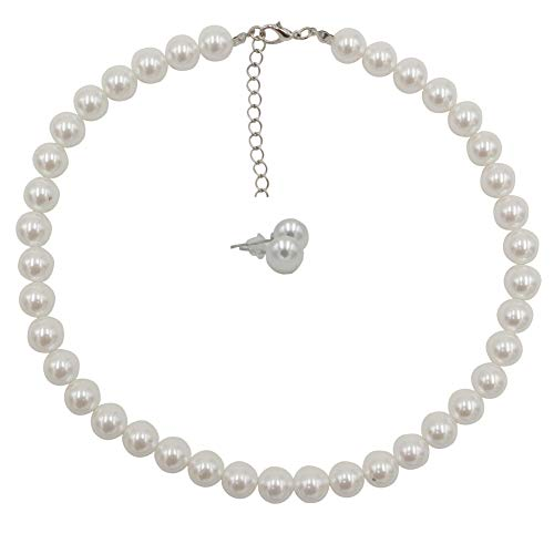 Femtindo Faux Pearl Necklace and Earring Set for Women Wedding Bridal Jewelry (10mm) - http://coolthings.us