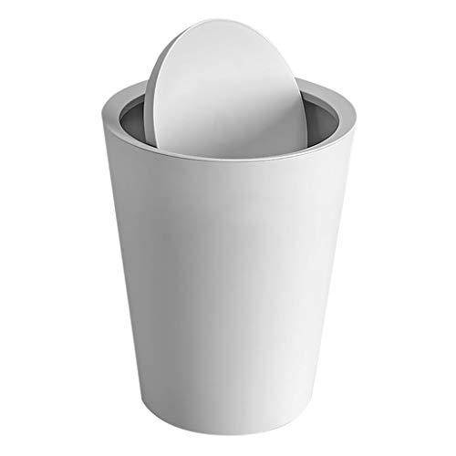 Bote de Basura Cesta de Papel de desecho Hogar Sala de Estar Dormitorio Baño Creativo con Tapa Cubo de Basura Contenedor de Almacenamiento 10L Bote de Basura Humano Simple (Color : Gray)